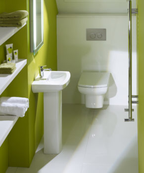 Green under stairs toilet